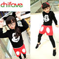 chifave 2017 Autumn Winter Boys Girls Clothes Children Clothing Sets Carton Mouse Hooded SweaterShirt+Pants 2Pcs Kids Clothes