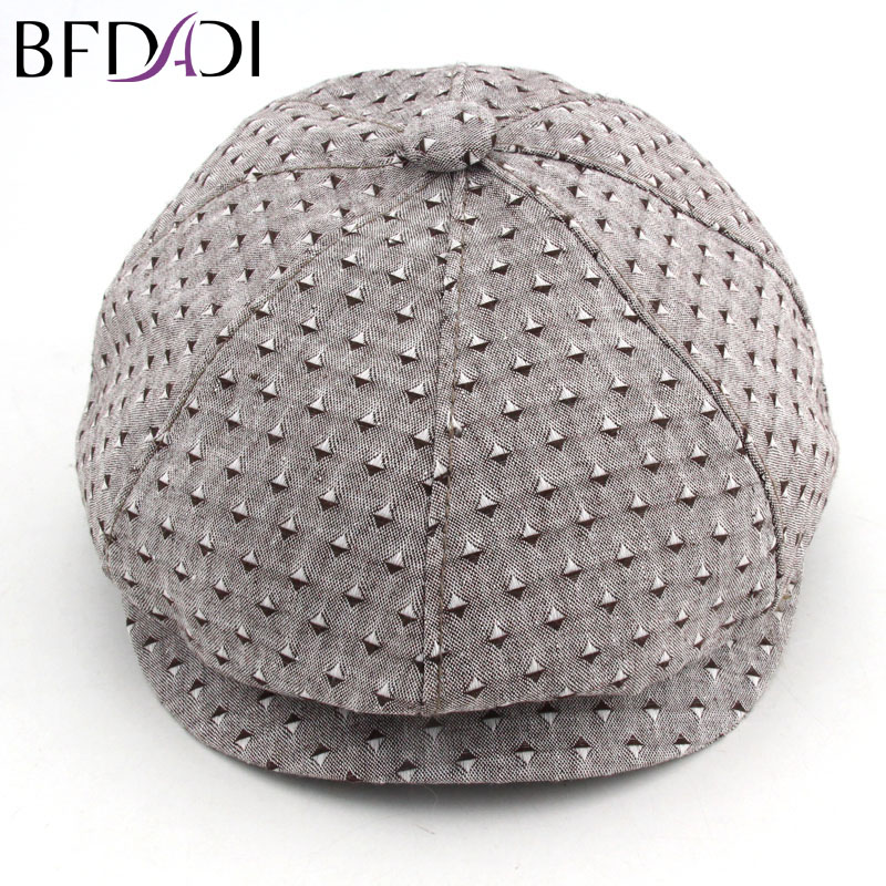 BFDADI 2019 Vår og sommer Newsboy Cap Størrelse 57 58 59 60cm Mote Caps Breathable Hat For Men And Womem