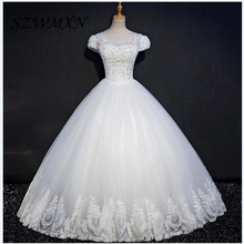 Real Photos Sparkle Beading Ball Gown Wedding Dresses white Lace Appliques Sequined Scoop Bridal Gowns 2017 robe mariage dress