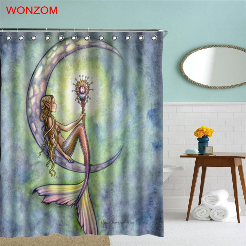 WONZOM 3D Polyester Fabric Mermaid Shower Curtains with 12 Hooks For ...
