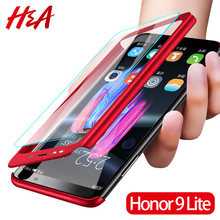 H&A Luxury 360 Degree Full Cover Phone Case For Huawei Honor 8 Lite 10 V10 Anti-knock Phone Cover Honor 9 9 Lite Case With Glass(China)