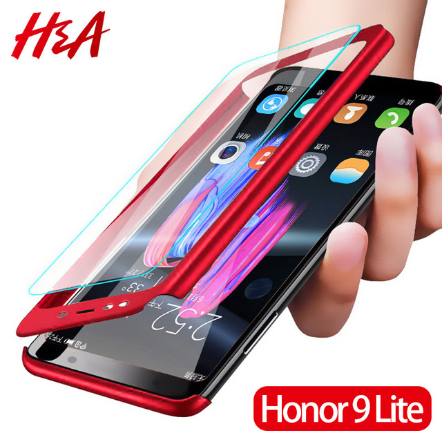 H&A Luxury 360 Degree Full Cover Phone Case For Huawei Honor 8 Lite 10 V10 Anti-knock Phone Cover Honor 9 9 Lite Case With Glass