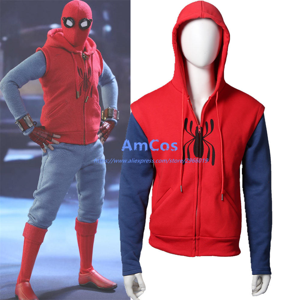 2017Movie Spider-Man Homecoming Peter Parker Cosplay Superm FullZip Pullover Hoodies Men Sweatshirt Long Sleeve SpiderMan Jacket