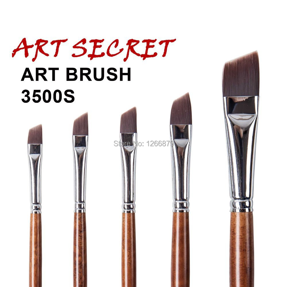 3500S High Quality Korea Importing Synthetic Hair Brass Ferrule Long Wooden Handle Watercolor Acrylic Art Artist Brush