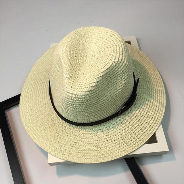 22991528eaf Women s Sun Hat Leather Chain Straw Flat Wide Brimmed Black White Summer  Hats For Women and girl Beach Headwear Chapeau Female