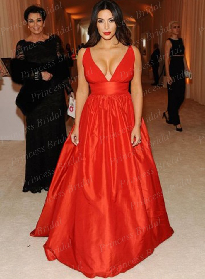 Free Shipping Sexy A Line Deep V Neck Big Bust Floor Length Long Red