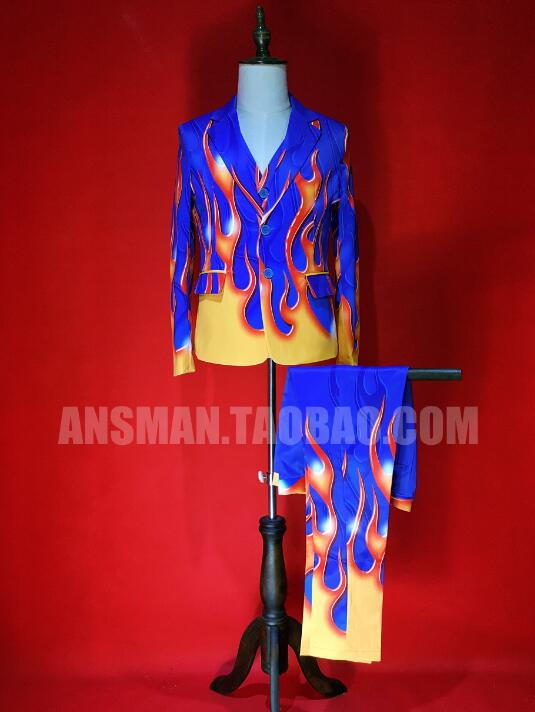 2020 men's fashion singer stage Male model blue bottom red flame high-end elastic tsui costumes three-piece suits costumes