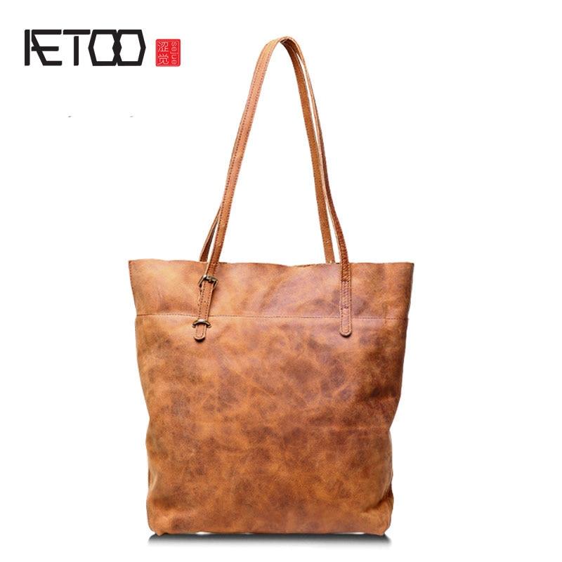 AETOO New fashion shoulder bag handbag leather handbags ladies retro aetoo new handbags fashion retro leather handbags rose imprint ladies diagonal handbag mini shoulder bag