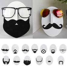 סט של 13pcs חידוש גברים שפם פנים עיצוב עיניים משקפיים משקפי שמש משקפיים מחזיקי דוכן תצוגת Rack ארגונית