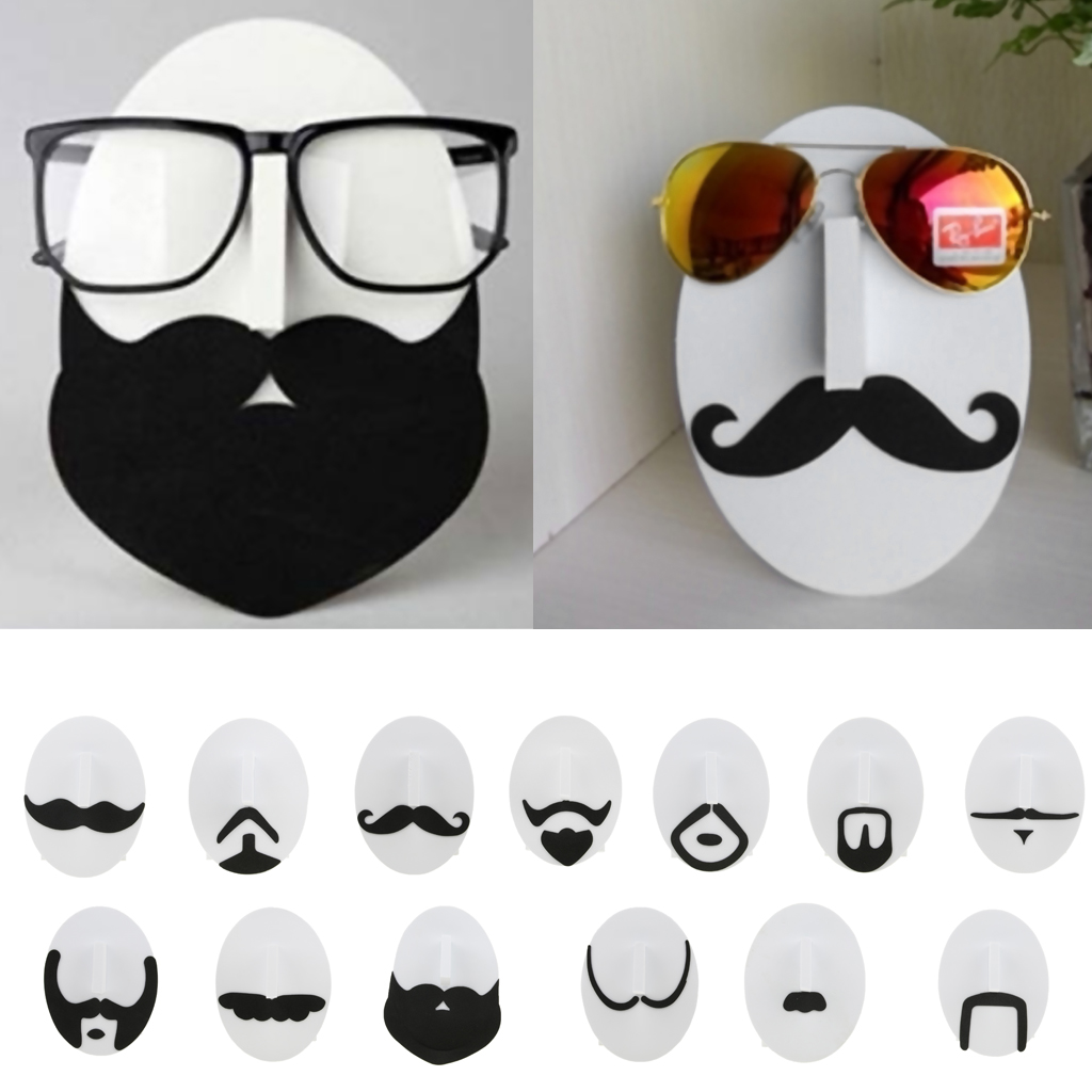 Set Of 13pcs Novelty Men Mustache Face Design Eye Glasses Sunglasses Spectacles Display Stand Holders Rack Organizer