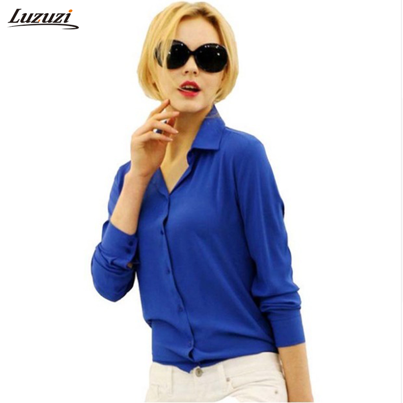 1PC Women Chiffon Blouse Long Sleeve Shirt Women Tops Office Lady Blusas Femininas Camisas Mujer