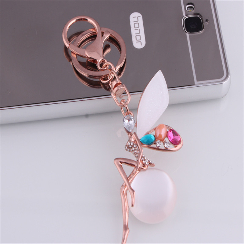 Sitaicery New Angel Girl Glitter Keychain High Quality Rhinestone Crystal Ball Car Keychain Charm Pendant Key Ring For Women in Key Chains from Jewelry Accessories