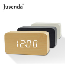 Cube Wooden Clock Voice Control Digital alarm clock radio led light clock Electronic table Watch Nixie Wood Bedside Alarm Clock