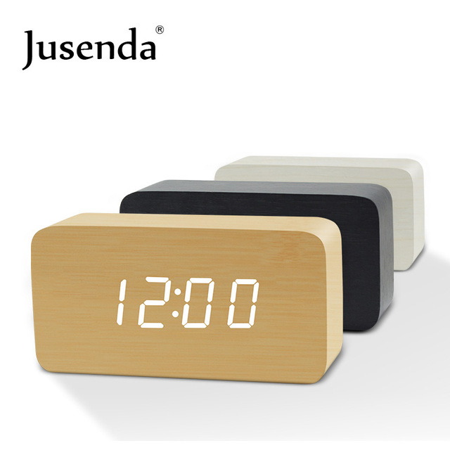 Cube Wooden Clock Voice Control Digital Alarm Radio Led Light Electronic Table Watch Nixie