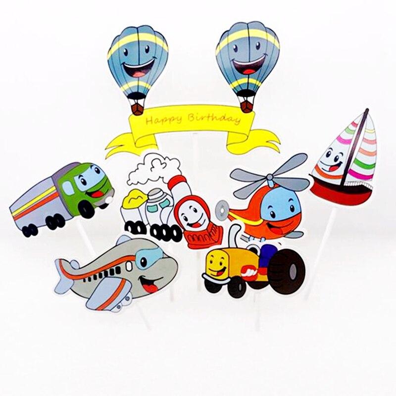 1set Cartoon Train Plane Truck Sailboat Balloon Cake