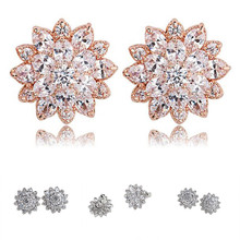 2017 Elegant Charming White Imitation Pearl Ear Stud Earrings For Lady Women Party Zircon Flower Earrings Top Quality a suit of charming faux pearl flower shape necklace and earrings for women