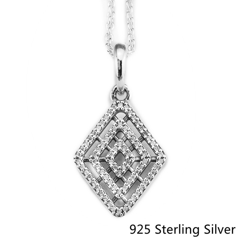 925 Sterling Silver Geometric Lines Necklace & Pendant Clear CZ Fits DIY Pendant Necklace For Women Gift