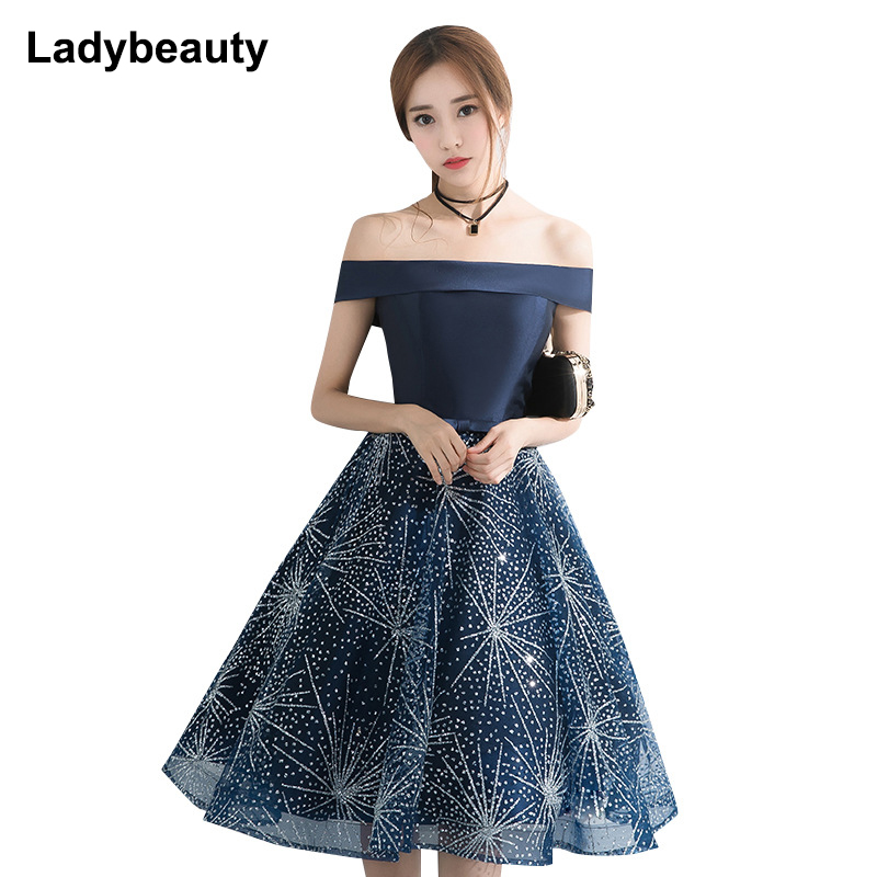 2018 Boat Neck Pattern Print Women Evening Dress Blue Backless Lace Up Elegant Party Dress