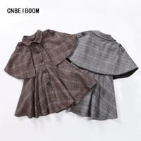 Children Girls Plaid Long Trench Jacket Cloak Windbreaker Coat Shawl Baby Dress Turn Down Collar Autumn
