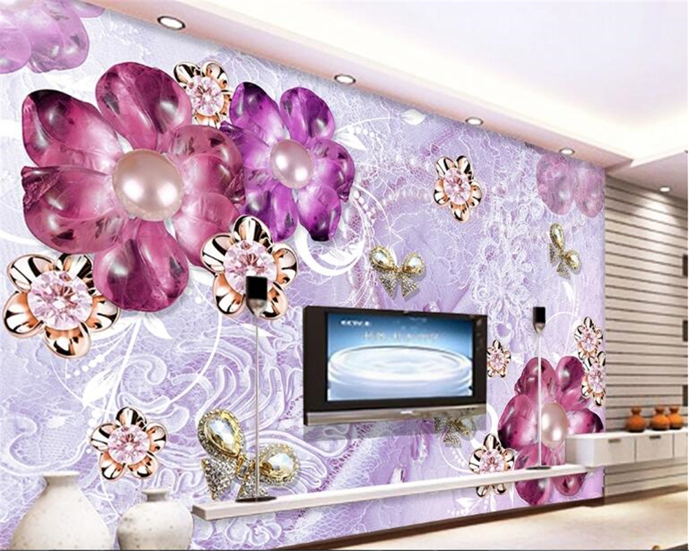 Beibehang Indoor Wallpaper Mewah Cantik Ungu Eropa Bunga Stereo TV Latar Belakang Dinding Papel De Parede
