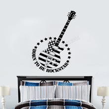 Art  Wall Sticker Guitar Music Home Poster VInyl Decoration Quotes Notes Rock US Flag Mural Removeable LY93