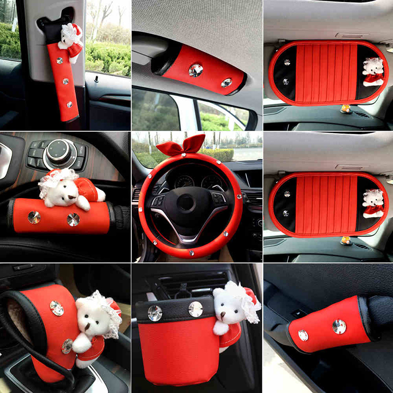 BMW Seat Belt Cover >> Red Car Interior Ddecoration Accessories Ladycrystal seat ...