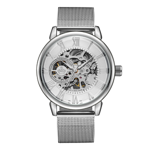 Image 2 - ORKINA Male Wristwatch Skeleton Dial Mechanical Hand wind Clock Mens Wrist Watches Stainless Steel Mesh Band Herren Armbanduhr