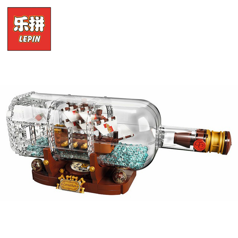 DHL Lepin Sets 16051 1078Pcs Pirates of the Caribbean Figures Ship in a Bottle Model Building Kits Blocks Bricks Kids Toys 21313 8 in 1 military ship building blocks toys for boys