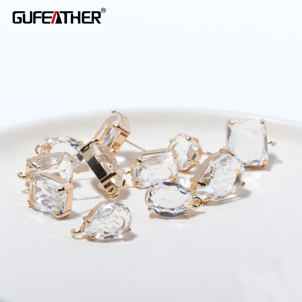 GUFEATHER M337,jewelry Accessories,jewelry Findings,charms,transparent Glass,diy Earrings,hand Made,stud Earrings,jewelry Making