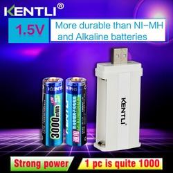 2pcs KENTLI 1.5v 3000mWh Li-polymer li-<font><b>ion</b></font> <font><b>lithium</b></font> rechargeable AA <font><b>battery</b></font> batterie + 2slots CU57 <font><b>charger</b></font>