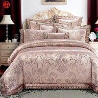 Home textile wedding luxury satin jacquard bedding set 100%cotton king white duvet cover bed sheet European home bedding blue