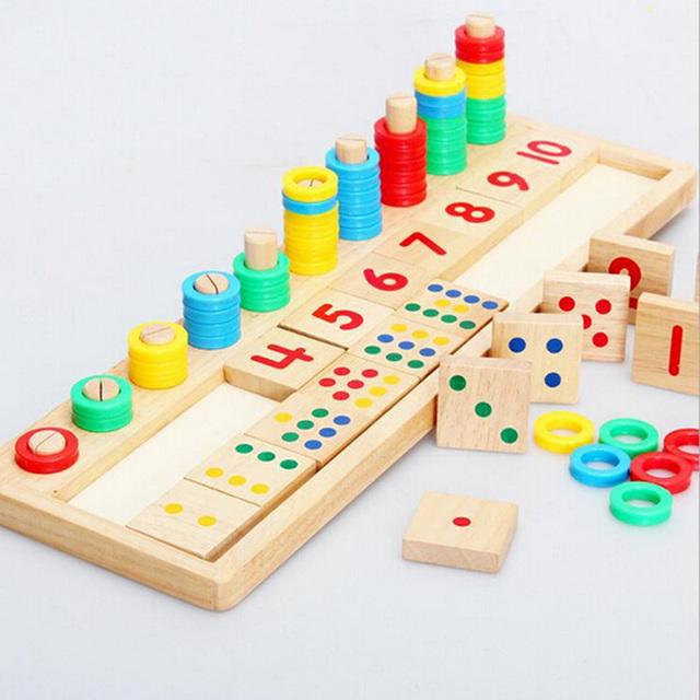 Anillos Del Arco Iris de Dominó Niños Preescolares Material Didáctico Montessori de Conteo y Tablero De Madera de Apilamiento Juguete Matemáticas