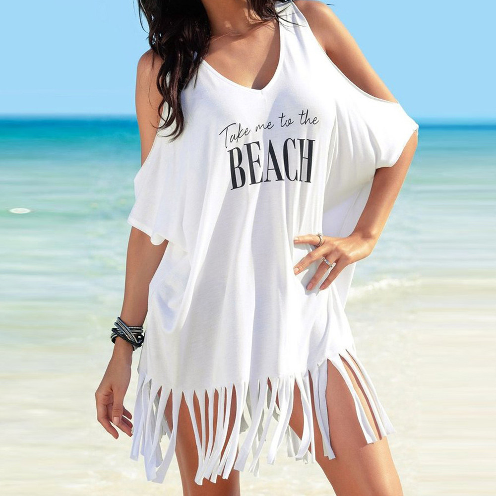 ladies Party black White Summer Dress Womens Tassel Letters Print Baggy Beach Dress
