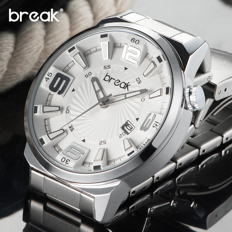 Break Male Sport Quartz Watch Men Top Brand Luxury Stainless Steel Band Wristwatch Calendar Waterproof Clock Relogio Masculino weide japan quartz watch men luxury brand leather strap stainless steel buckle waterproof new relogio masculino sport wristwatch
