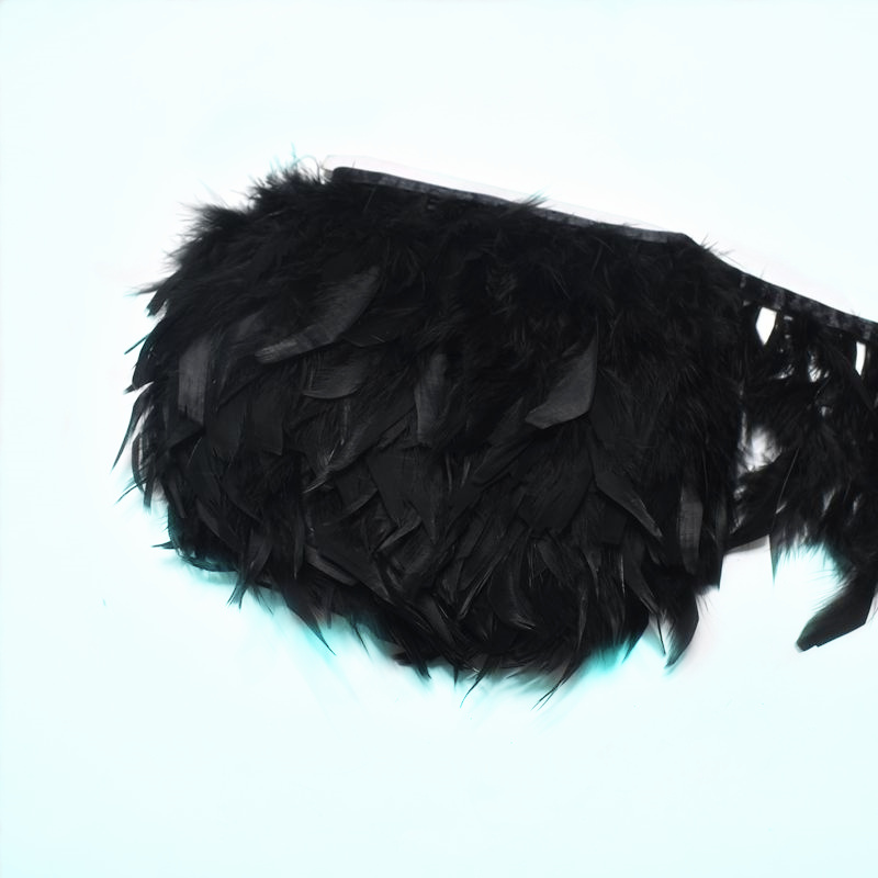 2Meter black Turkey feathers trims Fringe Sewing clothing plumas 10-15cm DIY fluffy marabou Feathers for crafts Party decoration