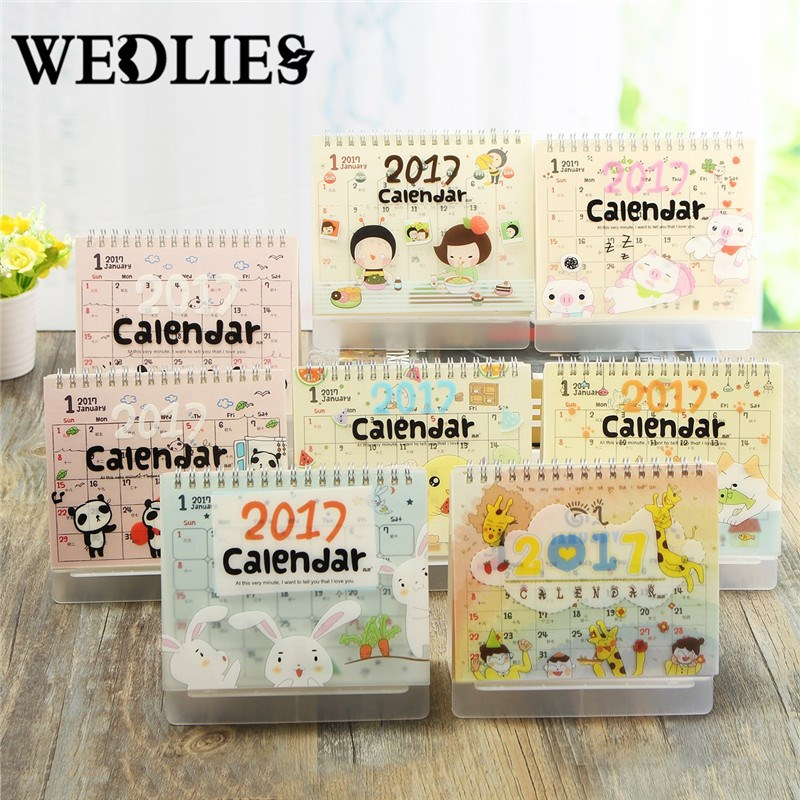 table calendar diy 2017 panda cute kawaii cartoon animals desktop storage decor gift scheduler table planner