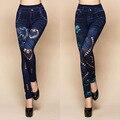 Calças Da Cópia Da Flor das mulheres Sexy Oco Cut Elastic Skinny Jeans Denim Leggings