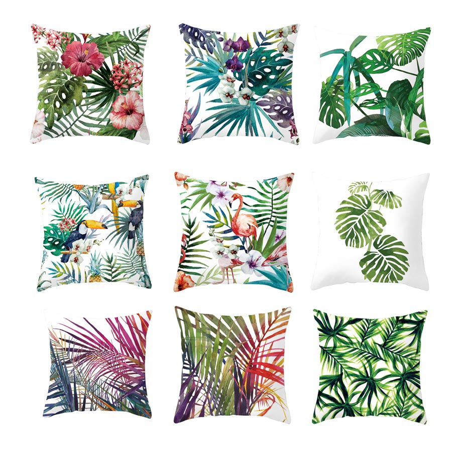 YWZN Tropical Plants Pillow Case Polyester Decorative Pillowcases Green Leaves Throw Pillow Case Kussensloop Almohada Poszewka