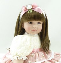 22 inch 55cm Silicone baby reborn dolls Children's toys beautiful flower skirt girl