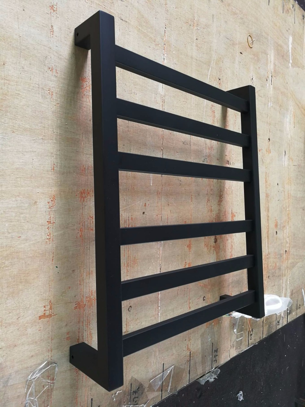 Free Shipping Stainless Steel Electric Wall Mounted Towel Warmer Bathroom Accessories Racks Black Heated Towel Rail HZ 942B in Sanitary Ware Suite from Home Improvement