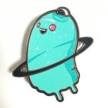 Metal hard enamel alien badge with printed logo custom back butterfly buckle metal badges