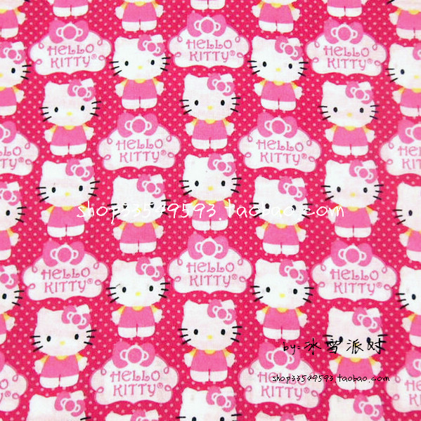 Us 15 24 39 Off 105x100cm Hot Pink Background Polka Dot Hello Kitty Cotton Fabric For Baby Girl Dress Bedding Set Sewing Patchwork Diy Afck106 In