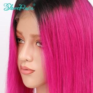 Image 5 - 13X4 OT Rose สีชมพู 130% ความหนาแน่นสั้น Bob วิกผมมาเลเซีย Remy ผมลูกไม้ด้านหน้าด้านหน้ามนุษย์ Wigs สีดำรากก่อน Plucked Slove Rosa