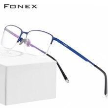 FONEX Pure Titanium Eyeglasses Half Rim Optical Frame Prescription Spectacle Business Glasses for Men Super Light