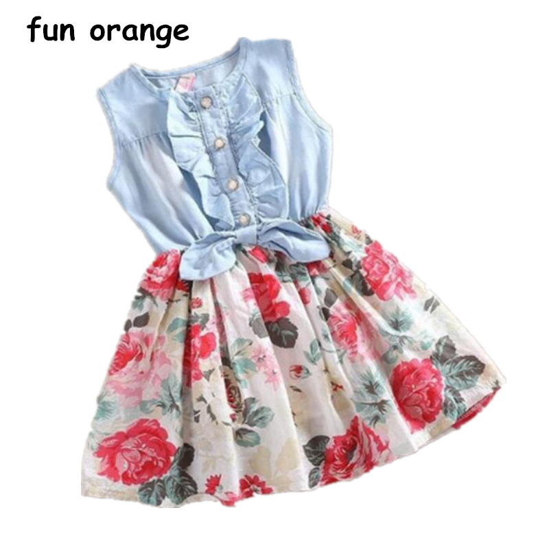 купить Fun Orange Baby Girl Dress Summer Sleeveless Denim Floral Dresses With Button Children Kids Princess Ruffles Dresses Clothing по цене 292.39 рублей