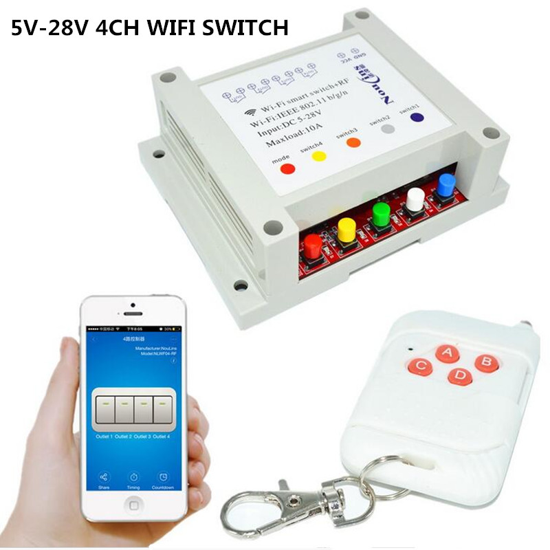 4CH 12V Smart WIFI Switch Remote Control Light Switches 5-28V Timer Module, RF 433mhz Wireless Remoto for Garage Gate Automation new 1transmitter &4receiver module wireless remote control encoding module system momentery latched rf remote control switches