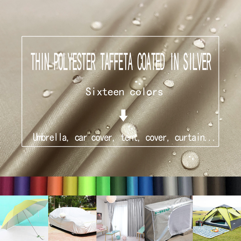 free shipping 1m*1.5m Thin polyester Taft coated with silver polyester fabric umbrella tent car cover dust cover fabric
