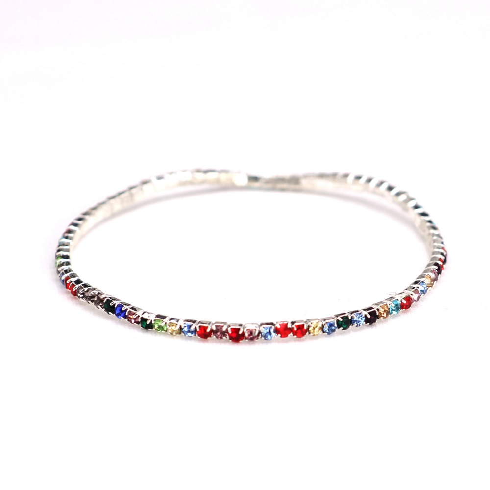 8inch Hip hop Men Bracelet colorful Iced Out 1 Row Rhinestones Chain Bling Crystal Bracelet Women Drop Shipping