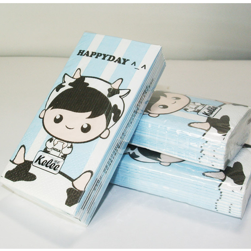 Food grade New desgin cute toilet tissue napkin paper printed cartoon cow milk boy handkerchief wedding serviette birthday party