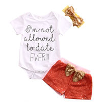 3PCS Baby Outfit Sets Newborn Baby Girl Summer Romper O-Neck Short Sleeveless Top Sequin Girls Shorts Cute Headband Costumes